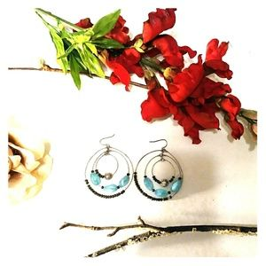 Jewelry - Silver & Blue Beaded Hoop Earrings
